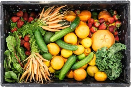 container of fresh veggies and fruit